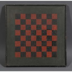 Polychrome-painted Wooden Checkerboard