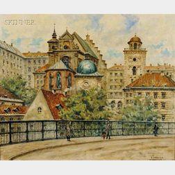 S. Okulicz (Polish, 20th Century)      Landscape with Church