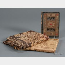 Two Batik Panels and a Related Embossed Leather-bound and Illuminated Book