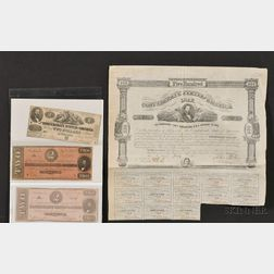 (American Judaica) Group of Confederate Currency and Bonds