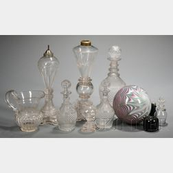 Eleven Assorted Blown Colored and Colorless Glass Items