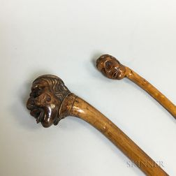 Two Carved Folk Art Fruitwood Canes