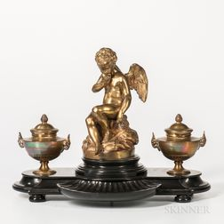 Gilt-bronze and Slate Figural Inkstand