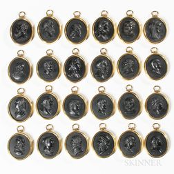 Twenty-four Wedgwood Black Basalt Portrait Medallions