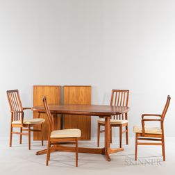 Rasmus Trestle Table and Four SVA Mobler Dining Chairs