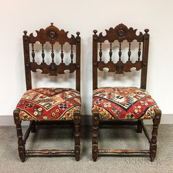 Pair of Charles II-style Derbyshire Upholstered Walnut and Oak Side Chairs