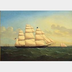 Attributed to James E. Buttersworth (Anglo/American 1817-1894)    Portrait of the Clipper Ship Game Cock.