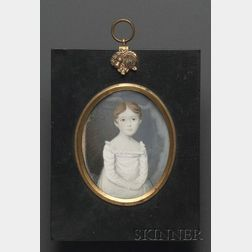 Portrait Miniature of a Young Girl in a White Dress