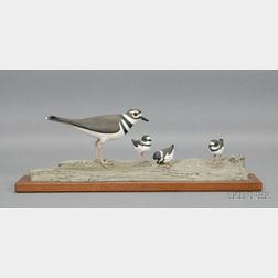 """Carved and Painted Wooden """"Killdeer Family,"""""""