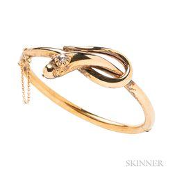 14kt Gold and Diamond Snake Bracelet