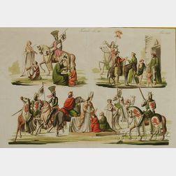 Lot of Three Hand-colored Historical Fashion Prints, Continental School, 19th Century Francesci Capetingi Sec. XIII XIV , Tedeschi S...