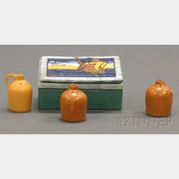 Paul Revere Pottery Box and Three Salt and Pepper Shakers