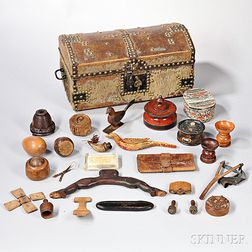 Hide-covered Trunk with Assorted Contents