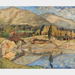 Hayley Lever (American, 1876-1958)      Mountain Landscape with Lake, Woodstock, New York