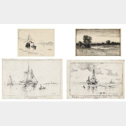 American School, Late 19th Century  Thirteen Black and White Drawings, Including: Charles Harry (Henry) Eaton (1850-1901), I...