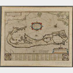 Bermuda. Henricus Hondius (1597-1651) Mappa Aestivarum Insularum, alias Barmudas.