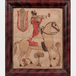 Johann Friedrich Krebs (Pennsylvania, Late 18th/Early 19th Century)      Soldier on Horseback