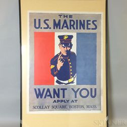 REPRODUCTION The U.S. Marines Want You   WWI Lithograph Poster