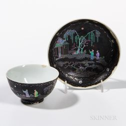 Mother-of-pearl-inlaid White Porcelain Cup and Saucer