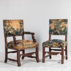 Set of Twelve Renaissance Revival Oak Tapestry Upholstered Chairs