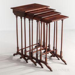 Set of Four Nested Mahogany Tables