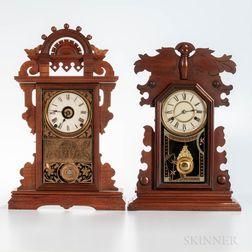"""Two Walnut """"City"""" Clocks"""