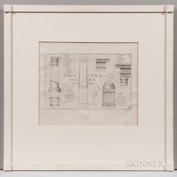 Six Framed Architectural Engravings:, Attributed to Samuel Marolois (Dutch, c. 1572-c. 1627), Five Depictions of Architectural Orders a