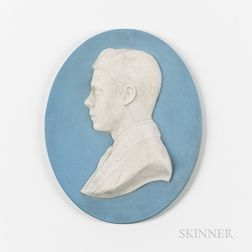 Wedgwood Light Blue Jasper Portrait Plaque of Edward VIII