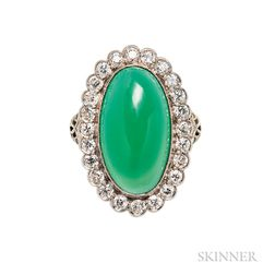 White Gold, Green Chalcedony, and Diamond Ring