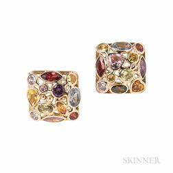 14kt Gold Gem-set Earrings