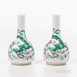 Pair of Small Doucai Bottle Vases