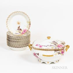Ten Limoges Floral-decorated Plates