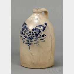 J. & E. Norton Cobalt Floral Decorated Stoneware Jug