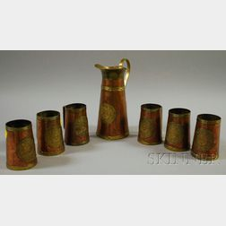 Seven-piece Vintage Mexican Mayan-decorated Brass-mounted Copper Beverage Set