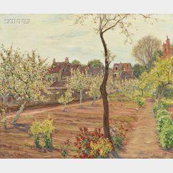 William Samuel Horton (French/American, 1865-1936)      Cottage Garden in Spring