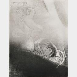 Odilon Redon (French, 1840-1916)      Il tombe à l'abîme, la tête en bas