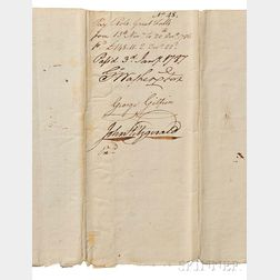 Washington, George (1732-1799) Document Signed, Virginia, 3 January 1787.