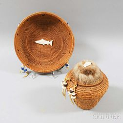 Two Inuit Woven Basketry Items.     Estimate $20-200