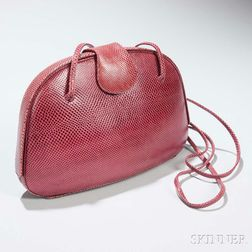 Judith Leiber Red Lizard Skin Handbag