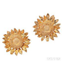 18kt Gold Sunflower Earclips, Asprey