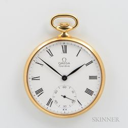 "Omega ""960"" 18kt Gold Open-face Watch"