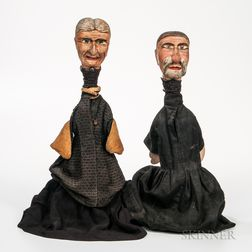 Carved and Painted Man and Woman Puppets