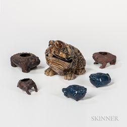 Six Money Toad-shaped Ceramics