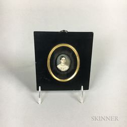 Small Framed Watercolor Portrait Miniature of a Woman