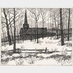 Eric Sloane (American, 1905-1985)    Church Silhouette in Winter Landscape
