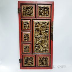 Chinese Carved, Gilt, and Red-lacquered Cabinet Door