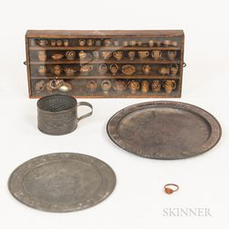 Small Shelf of Walnut-carved Miniatures and Three Pieces of Tinware
