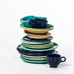 Small Group of Yellow, Green, and Blue Fiestaware