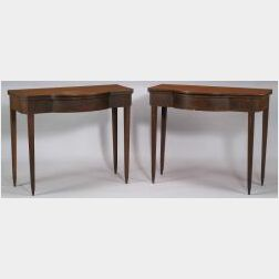 Pair of Federal Mahogany Inlaid Card Tables