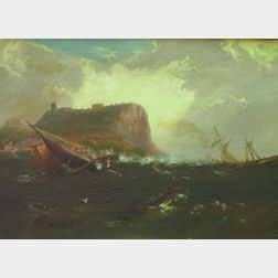 Framed Oil on Canvas of a Rescue After Shipwreck Attributed to Thomas Birch